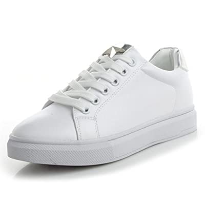 Femmes Sneakers Pu Printemps Plat Sauvage Casual Chaussures Confortable Sports de Plein Air Chaussures Voyage Chaussures Métal Argent GAOLIXIA