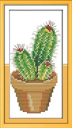 Joy Sunday Cross Stitch Kits,Still Life Style,Cactus,11CT Counted 13cm/×24 or 5.07/×9.36