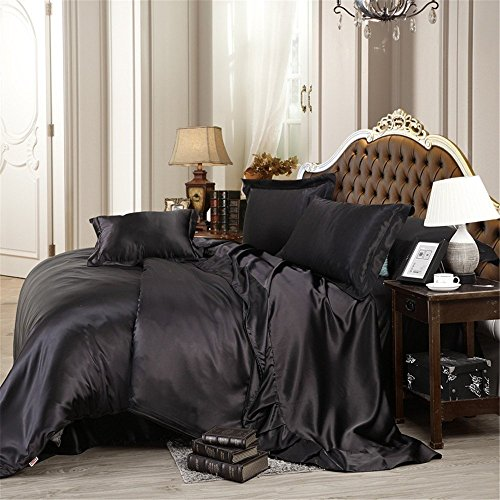Fenesta Décor Super soft & Silky Satin 8Cs Bedding Set (4PCs Sheet Set, 3PCs Comforter Set and Pleated Bed Skirt, Black , Queen , Drop length 14 Inches) Charmeuse Satin Comforter Set