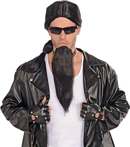 Adult Mens Black Bad Biker Man Guy Goatee Facial Hair Costume (Biker Costume Guy)