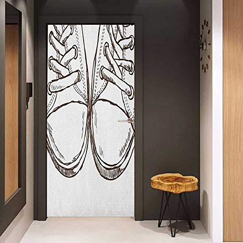 Onefzc Pantry Sticker for Door Doodle Sneakers in Hand Drawing Style Casual Footwear Teenager Urban Lifestyle Theme Sticker Removable Door Decal W36 x H79 Dark Brown White ()