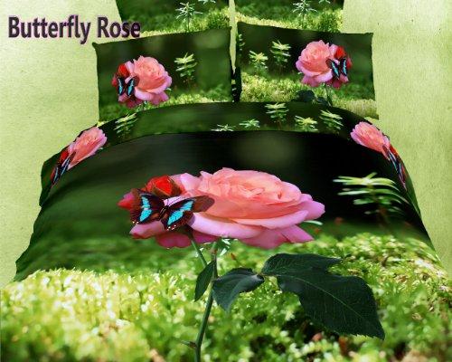 Dolce Mela DM440Q Butterfly Rose 6-Piece Cotton Duvet Cover Set, Queen