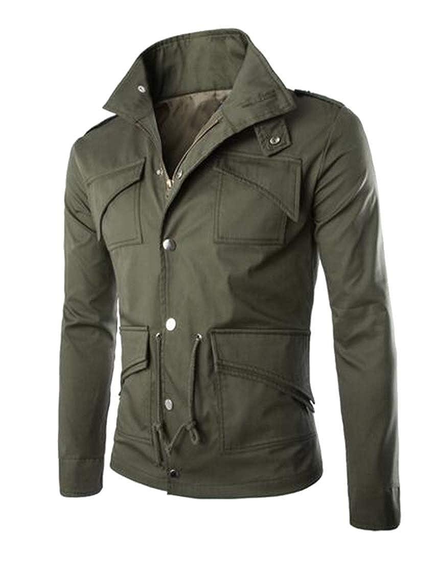 new product 689d8 9d38a Armygre Suncolor8 Men Slim Solid color Cotton Cotton Cotton Multi Pockets  Baseball Jacket Bomber Jacket Coat 7c536a