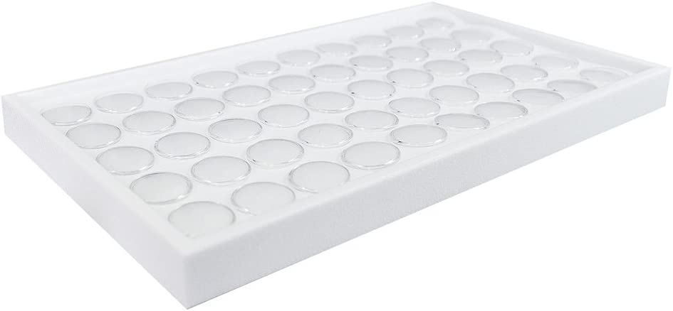 """Ikee Design 50 White Foam Gem and Bead Storage Jars Showcase Stackable Display Tray Storage Box for Collectibles, Home Organization, 14 3/4""""W x 8 1/4""""D x 1""""H"""