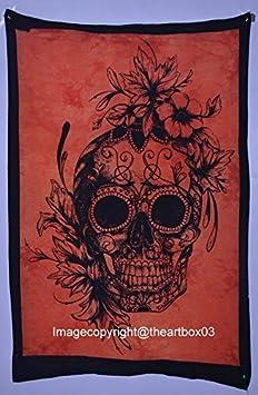 THE ART BOX Poster Wall D/écor Art Tapestry Small 40x34 Cotton Orange Skull Tapestries