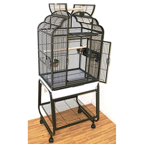 HQ's Opening Victorian Parrot Cage with Cart Stand, Small, Platinum, 1 Per Box