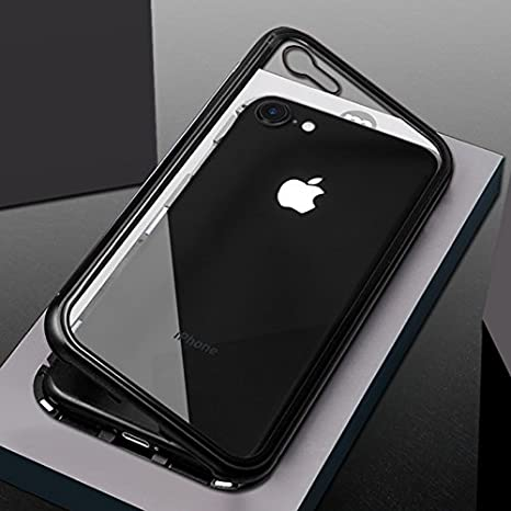 san francisco 9ce6f c9250 GadgetsWale Shock Proof Luxury Magnetic Adsorption Metal Bumper Auto-Fit  Tempered Back Case for iPhone 7 & iPhone 8 (Black)