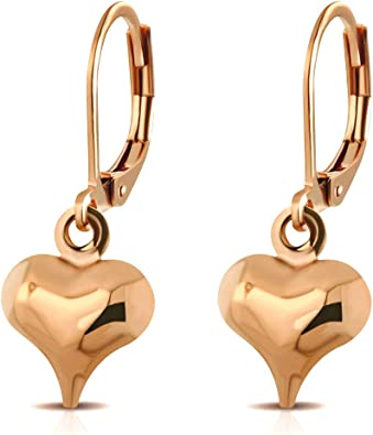 So Chic Jewels Gold Stainless Steel Heart Ear Studs