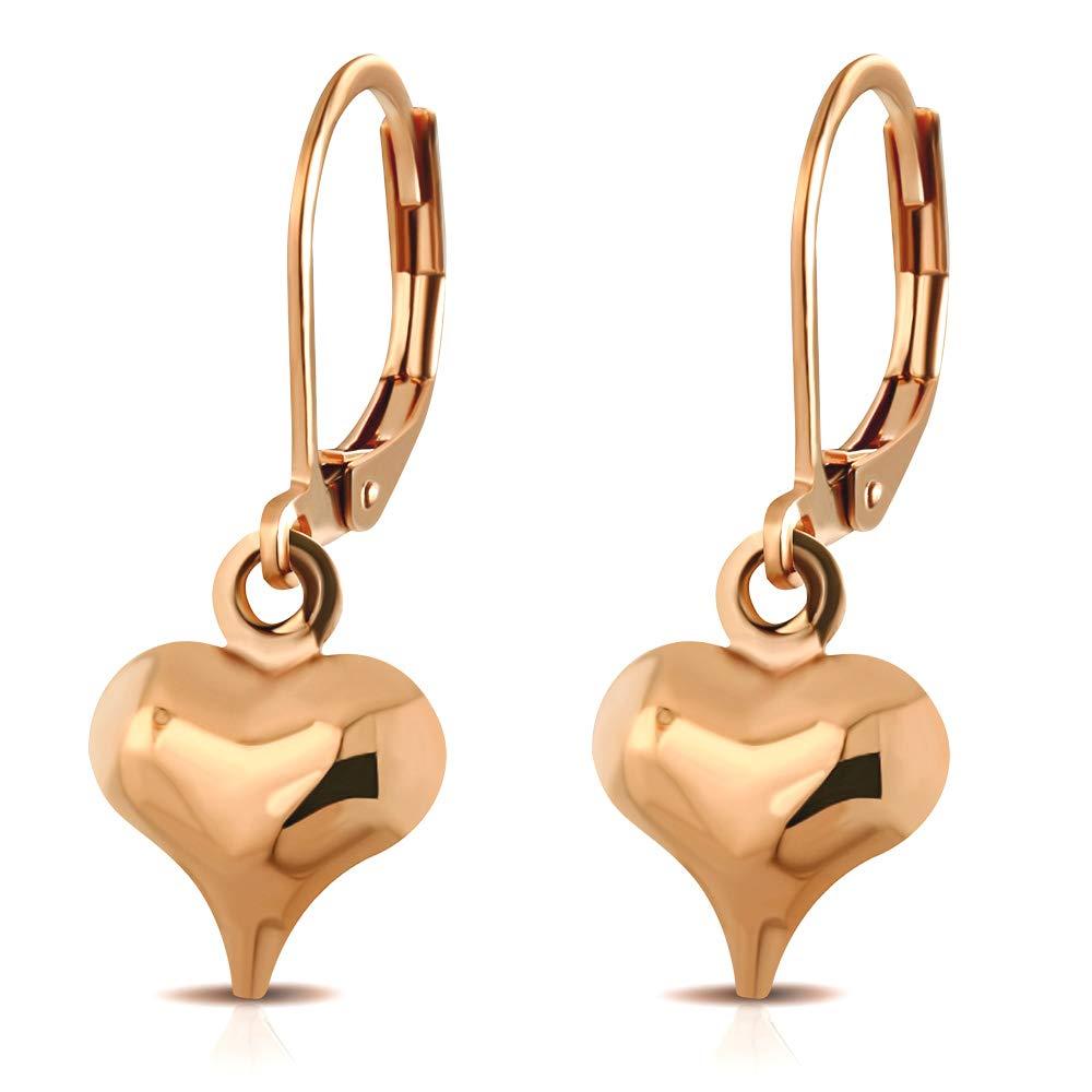 555Jewelry Women Stainless Steel Heart Love Cute Dangle Drop Lever Back Earrings