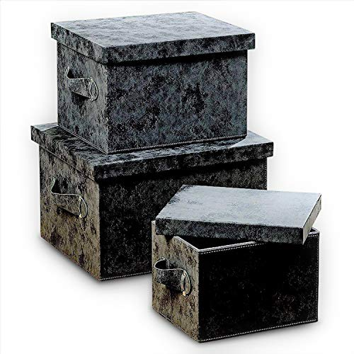Tribeca Large Faux Leather Boxes, Set of 3, Decorative, Stackable, Lush Gray, Brushed Suede Texture, Stitched Details, Side Handles and Silver Grommets, Storage and Organization
