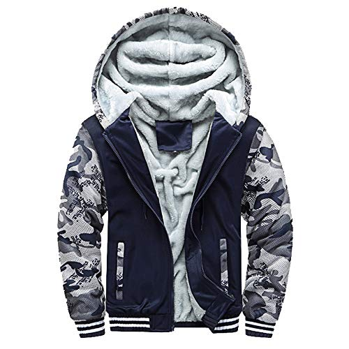 Mens Hoodie Coat, Chaofanjiancai Guys Winter Warm Fleece Zipper Sweater Jacket Pocket Outwear Tops ()