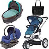 Quinny Buzz 3 Travel System and Dreami Bassinet in Blue with Diaper Bag