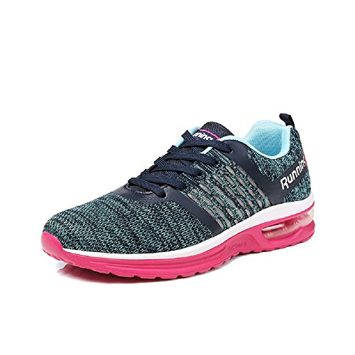 Monrinda Women Air Cushion Running Shoes Lightweight Shock Absorbing Trainers for Ladies Gym Walking Athletic Sneakers Blue-pink