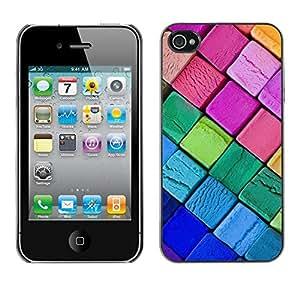 Caucho caso de Shell duro de la cubierta de accesorios de protección BY RAYDREAMMM - Apple iPhone 4 / 4S - Crayons Neon Colors Art Drawing Purple Pink