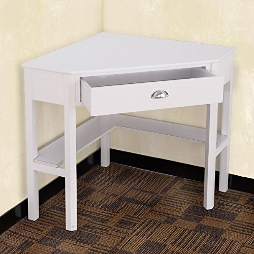 Tangkula Corner Computer Desk Home Office Wood with Storage Shelf Laptop PC Table Writing Study Table Workstation (white with drawer) (Corner Desks White)