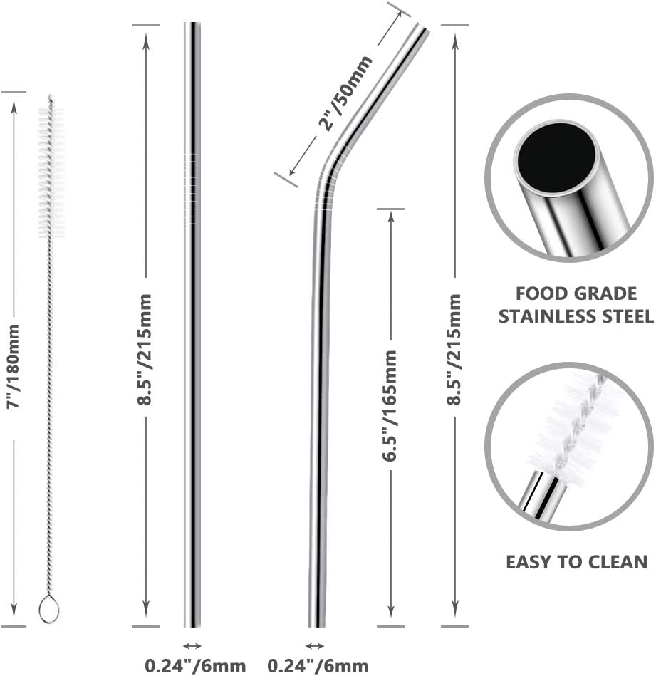 Usetcc Pajitas de Metal Reutilizables con 2 Cepillos de Limpieza para Jugos C/ócteles Batidos Bebidas Calientes Pajas de Acero Inoxidable 12 PCS