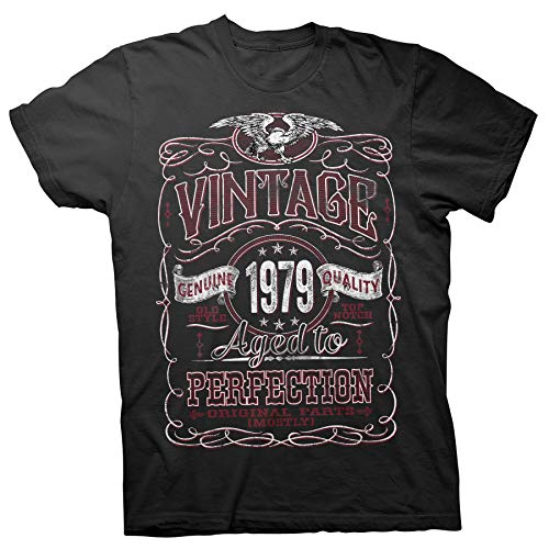 40th Birthday Gift Shirt - Vintage Aged to Perfection 1979 - Black-003-Lg