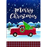 Lantern Hill Merry Christmas Vintage Red Truck with Christmas Tree Garden Flag; 12.5 inches x 18 inches; Winter Seasonal Holiday Decorative Banner with Plaid Trim