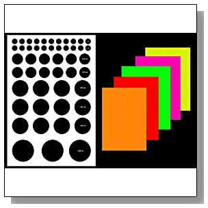 Circle-1 label sticker, multi-shape & size (see image), fluorescent paper color, A4 (8.27