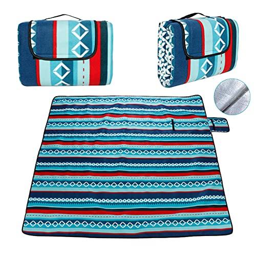 DONGQI 200 x 200 cm picknickdeken, extra groot, outdoor deken met waterdichte achterkant voor kamperen, park, strand…