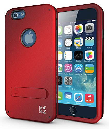 iPhone 6 Case - ECOZ [SHIELDX] Protective Tough 3 Layers Armor Rugged Case Cover with Build-In Stand for iPhone 6 (4.7) - Protective Ezgear Case