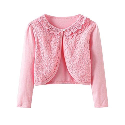 CHENXIN Girls Shrug Knit Long Sleeve Lace Bolero Cardigan Shrug (Pink 1, 8-9T) (Girls Pink Cardigan Sweater)