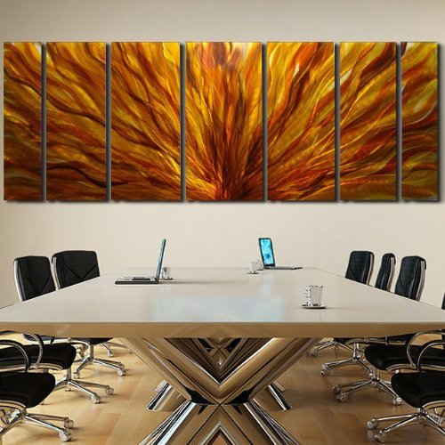Huge Modern Abstract Red, Yellow, Orange Metal Wall Painting - Massive Contemporary