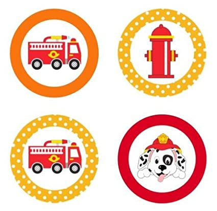Amazon Com Firetrucks Fun Edible Cupcake Toppers Decoration