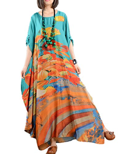 Yesno JN5 Women Long Maxi Colorful Floral Swing Dress 100% Silk Roll-up Sleeve Bohemia Sexy Summer Beach (Chiffon Maxi Dress Silk)