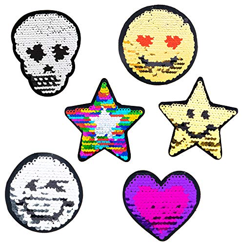 (Decal Stickers for Laptop, iPhone, Computer, Car Wall 6 PCs Pack with Reversible Sequins - Cool Adhesive Decals Sticker Set for Women and Girls - Great as Party Favors, Stocking Stuffers)