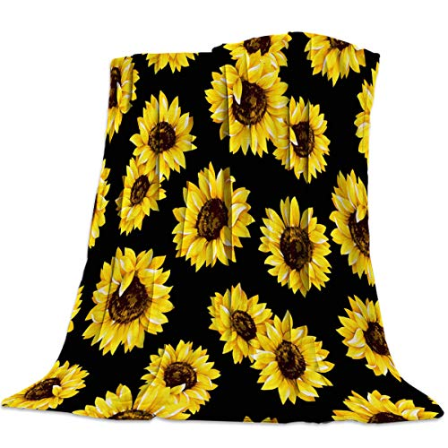 """Savannan Flannel Fleece Bed Microfiber Throw Blanket for Couch Soft, Lightweight, Warm and Cozy Sunflowers 60"""" x 80"""""""