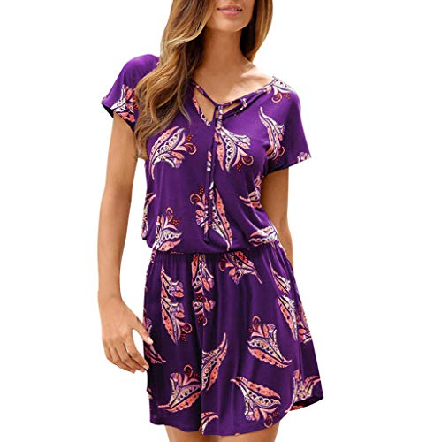 Willow SWomens Fashion Trend Boho Floral Print Patchwear Skirt Summer V-Neck Short Sleeve Casual Beachwear Mini Dress Purple