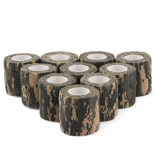 DROK 2.0in 14.76ft Camo Hunting Bandages Roll, 10pcs ACU Camouflage Adhesive Tape, Nonwoven Fabric Cohesive Bandage, Flexible Hunting Decor Stealth Protective Tape for Hunting Accessory Covering