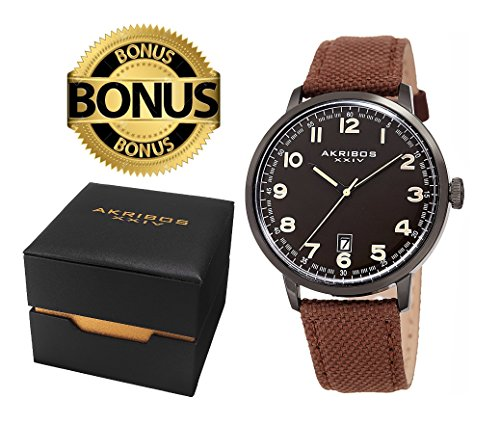Akribos XXIV Men's Classic Watch AK1025BKBR Series - Arabic Numeral Markers with a Comfortable Canvas Covered Genuine Leather Strap - Packed in a Beautiful Gift Ready Box (Black & Brown)