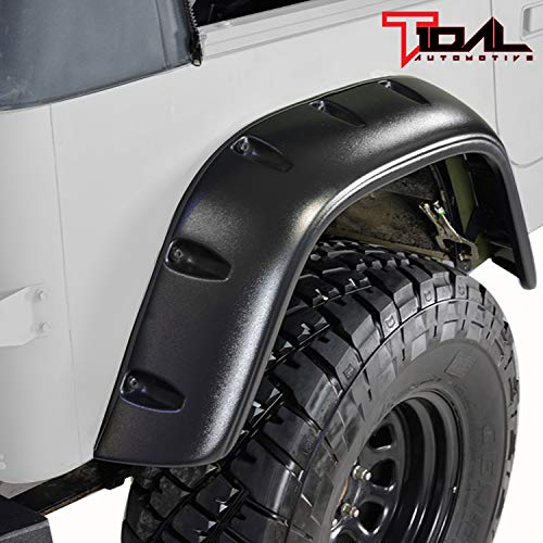 Tidal Front + Rear Fender Flare Wheel Cover Trim Pocket Rivet Style for 87-95 Jeep Wrangler YJ ()