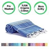 Realgrandbazaar Pestemal Turkish Towel %100 Cotton - Pre Washed , More Softly 39 x 69 Peshtemal, Beach, Bath, Spa, Hammam, Super Soft Towels (Oeko-TEX   Oeko-TEX Standard 100) (Azure)