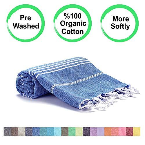 Realgrandbazaar Pestemal Turkish Towel %100 Cotton - Pre Washed , More Softly 39 x 69 Peshtemal, Beach, Bath, Spa, Hammam, Super Soft Towels (Oeko-TEX   Oeko-TEX Standard 100) (Azure) ()