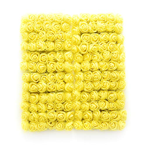 Mini Foam Rose Artificial Flowers Fake flower heads in bulk wholesale for crafts For Home Wedding Car Decoration DIY Pompom Wreath Decorative Bridal Flower party Birthday Home Decor 144pcs 2cm (yellow