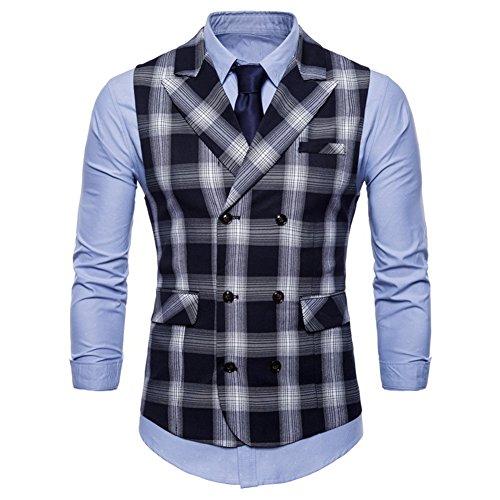 FULIER Mens Suit Vests Vest Lattice Dress Coat Waistcoat 6 Button Vests (Medium, -
