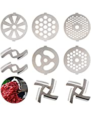 9 Pcs Replaceable Meat Grinder Blades, Stainless Steel Food Meat Grinder Plate Discs/Grinding Blades, Suitable for Size 5 Stand Mixer and Meat Grinder