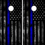 C202 American Police Flag CORNHOLE WRAP WRAPS LAMINATED Board Boards Decal Set Decals Vinyl Sticker Stickers Bean Bag Game Vinyl Graphic Tint Image