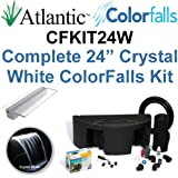 """Atlantic Water Gardens CFKIT24W Complete Crystal White Colorfalls Lighted Falls Kit - 24"""" Spillway, Basin, Pump, Hose & Fittings"""