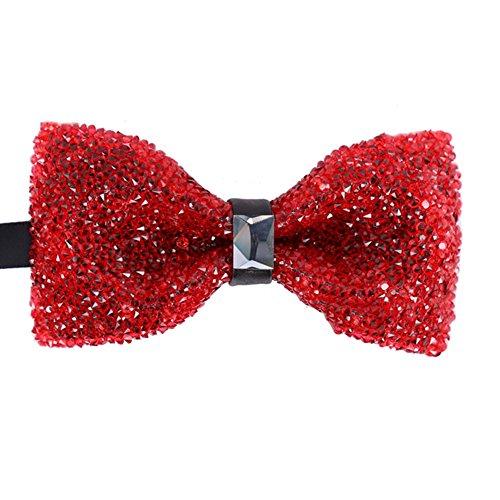 Men's Boy Novelty Agate Red Rhinestone Bow Tie Pre Tied Elegant Neck Tie Bowties