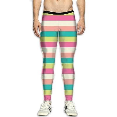 GFGRFDD Compression Pants Men Running Movement Gym Yoga Bodybuilding Color Stripes Print 3D Printing Leggings