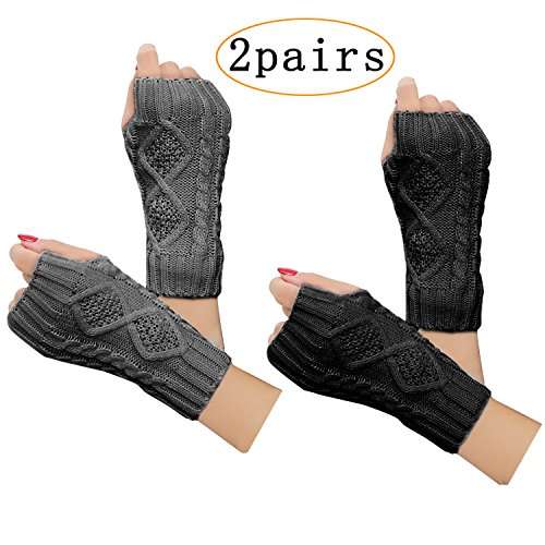 2 Pair Women's Hand Crochet Winter Warm Fingerless Arm Warmers Gloves