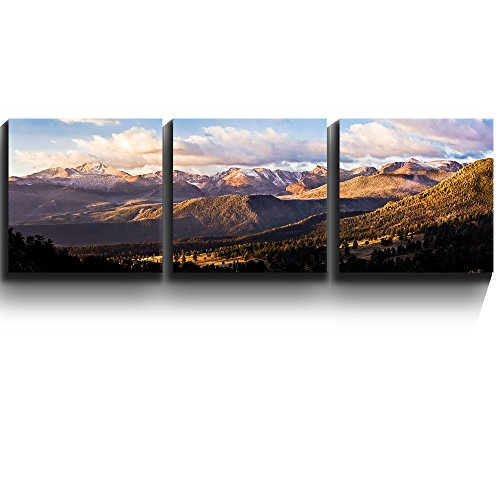 3 Square Panels Contemporary Art Gorgeous serene mountain wilderness Three Gallery ped Printed Piece x3 Panels