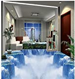 LWCX Waterfall Photo Wallpaper Mural Floor Custom Photo Self-Adhesive 3D Floor Pvc Waterproof Floor Home Decoration 300X240CM