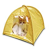 Cheap LPET Foldable Cat Tent Outdoor Travel Safety Pet Shelter Toy Storage Water Resistant Tent for Small House Animas (yellow)