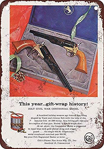 WallDector 1961 Colt Civil War Centennial Pistol Set Iron Poster Painting Tin Sign Vintage Wall Decor for Cafe Bar Pub Home Beer Decoration Crafts