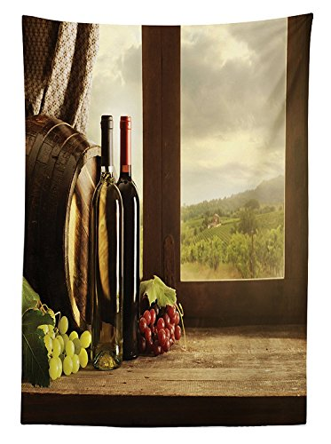 Winery Decor Tablecloth Dark Clouds over Vineyard Rainy Weather View from Window of Farmhouse Scenery Dining Room Kitchen Rectangular Table Cover